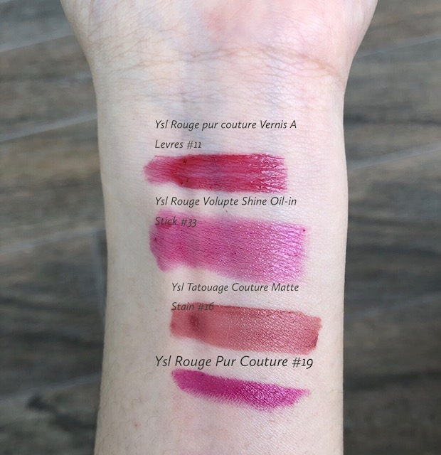 The Four Lovely & Beautiful YSL Lipstick Collection To Try Out-YSL Rouge Pur Couture Vernis A Levres #11-YSL Rouge Pur Coutre #19 Fushia Pink-YSL Rouge Volupte Shine-Oil-In-Stick #33 Fushia Intense-YSL Rouge Tatouage Matte Lip Stain #16